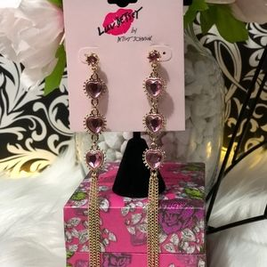 Luv Betsey Stacked Hearts Pnk/Gold Dangle Earrings